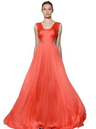 Maria Lucia Hohan Front Drape Silk Tulle Long Dress