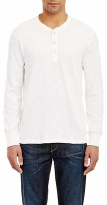 Rag & Bone Men's Slub Cotton Long-Sleeve Henley - White