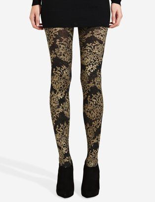 The Limited Gold Floral Lurex Tights