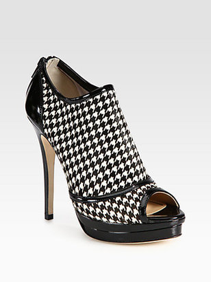 Jerome C. Rousseau Houndstooth Calf Hair & Patent Leather Ankle Boots