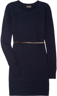 A.P.C. Belted wool and cashmere-blend sweater dress