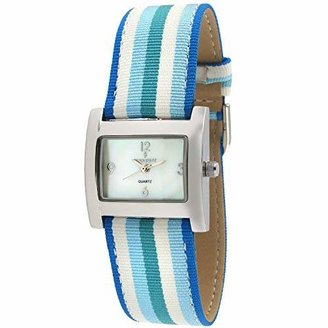 Peugeot Women's Rectangle Wrist Watch - Silver-Tone Case with Canvas Ribbon Strap