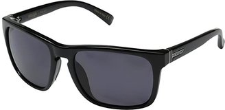 Von Zipper VonZipper Lomax Polarized (Black Gloss/Vintage Grey Wildlife Polarized Lens) Plastic Frame Sport Sunglasses