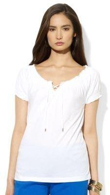 Lauren Ralph Lauren Lace-Up Cotton Scoopneck Top