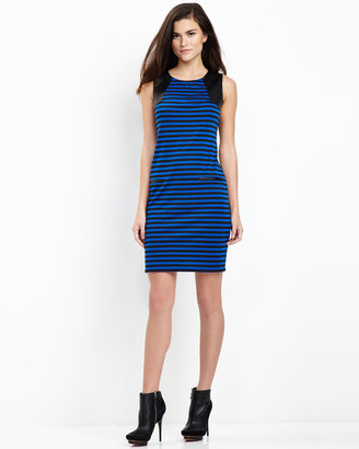 Neiman Marcus Striped Faux-Leather-Shoulder Dress, Black/Sapphire