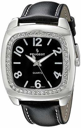 Peugeot Women's Crystal Bezel Boyfriend Leather Strap Watch