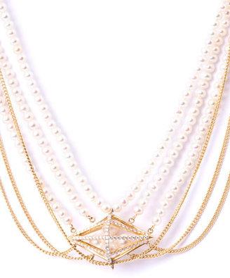 Melanie Georgacopoulos Diamond, white pearl & yellow gold necklace