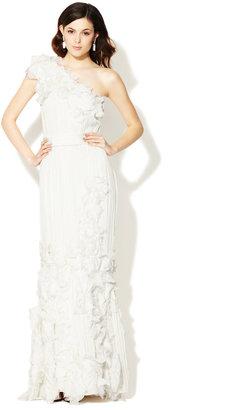 Tadashi Shoji One Shoulder Crinkled Chiffon Beaded Floral Gown