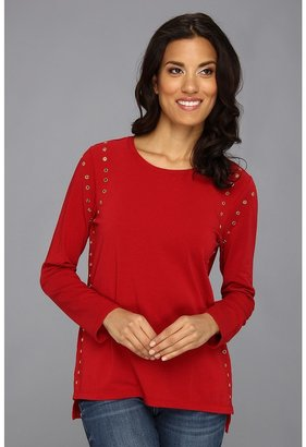 Vince Camuto TWO by L/S Rivet Seamed Tee (China Red) - Apparel