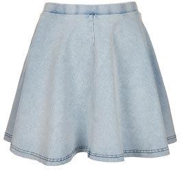 Topshop Petite denim look skater skirt