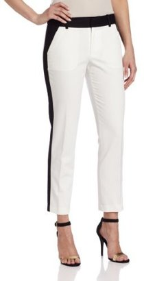Calvin Klein Women's Side Stripe Pant, Ivory/Black, 4 US