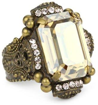 "Sorrelli Raw Sugar"" Bold Crystal Goldtone Adjustable Cocktail Ring"