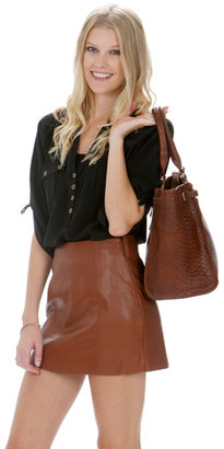 Miss Me Brown Leather Skirt