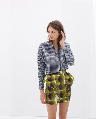 Zara Printed Ruffle Skirt