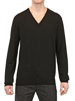 Christian Dior Bee Embroidered Wool V Neck Sweater