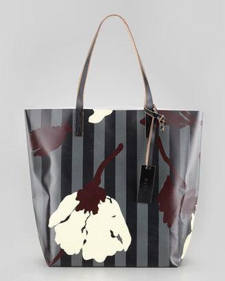 Marni Floral-Print Striped PVC Shopping Bag