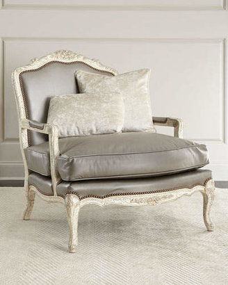 Old Hickory Tannery Silver Leather Bergere Chair