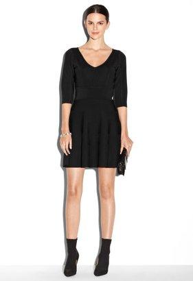 Milly V-Neck Stretch Flare Dress