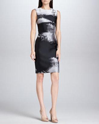 Mary Katrantzou Fitted Abstract Jacquard Sheath Dress, Black/Gray/White