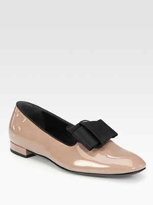 Giorgio Armani Patent Leather Bow Loafers