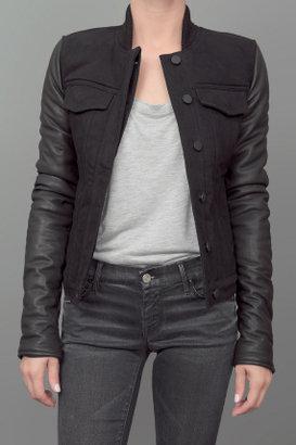 Alexander Wang Denim and Leather Jacket Black