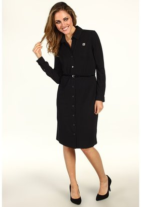 Anne Klein L/S Belted Polo Dress (Black) - Apparel
