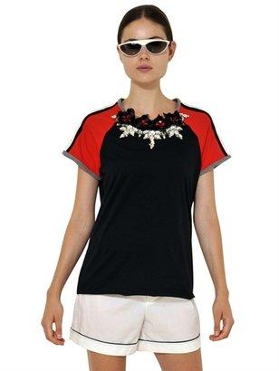 Marni Embroidered Soft Cotton Jersey T-Shirt