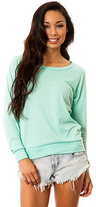 Alternative Apparel The Slouchy Pullover Solid Raglan in Eco True Holiday Blue