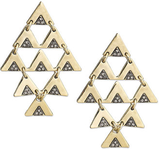 House Of Harlow Earrings, Gold-Tone Pave Triangle Chandelier Earrings