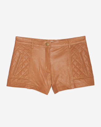 Thakoon Diamond Quilted Leather Shorts: Caramel