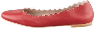 Chloé Scalloped Leather Ballerina Flat, Red