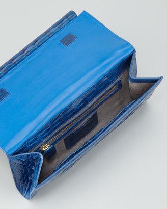 Nancy Gonzalez Front-Flap Crocodile Bar Clutch Bag, Cobalt Shiny