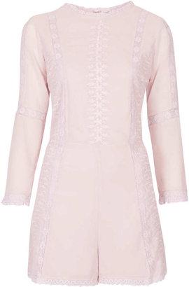 Topshop Pale Pink Lace Trim Playsuit
