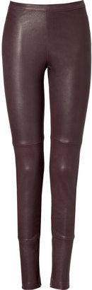 Utzon Plum Leather Leggings
