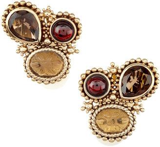 Stephen Dweck Garnet-Smoky Quartz Clip Earrings