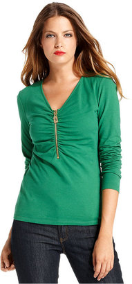 MICHAEL Michael Kors Top, Long-Sleeve Ruched Zippered Tee