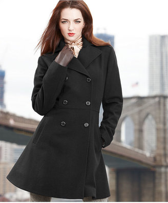 Anne Klein Coat, Double-Breasted Empire-Waist Wool-Blend