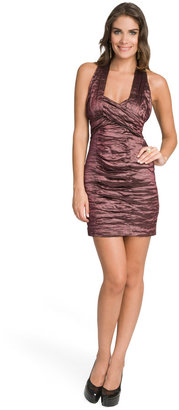 Nicole Miller Plum Metallic Ruched Dress