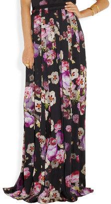 Giambattista Valli Floral-print silk-charmeuse maxi skirt