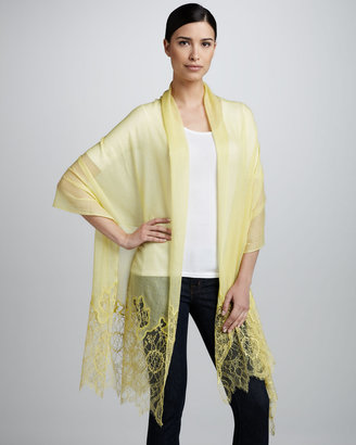 Valentino Lace-Inset Wool Shawl, Citrine Lemon