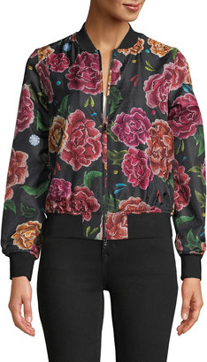 Robert Graham Meredith Floral-Print Silk Twill Bomber Jacket
