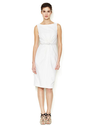 Carolina Herrera Crepe Wool Gathered Front Belted Dress