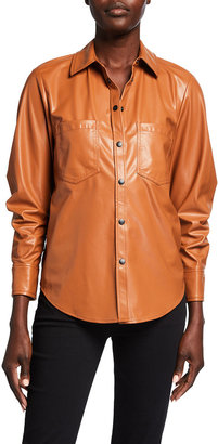 JONATHAN SIMKHAI STANDARD Ryder Faux Leather Scrunched-Sleeve Shirt