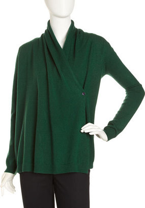 Neiman Marcus Cashmere Wrap Sweater, Green