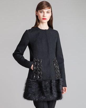Marni Crystal-Embellished Fur-Hem Jacket