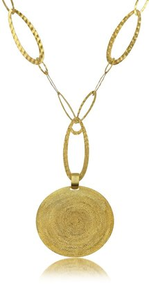 Stefano Patriarchi Golden Silver Etched Round Pendant Chain Necklace