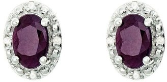 Sterling Oval Fancy Stud Earrings with DiamondAccent