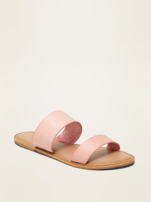 Old Navy Faux-Leather Double-Strap Slide Sandals for Women