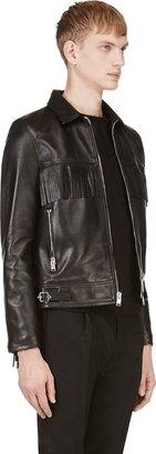Saint Laurent Black Leather Classic Fringed Jacket