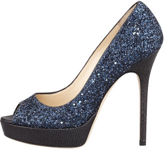 Jimmy Choo Crown Glittered Fabric Pump, Navy